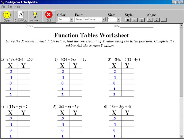 math worksheet : algebra equations and functions 1 10  hr 6th grade mathematics : Math Functions Worksheet